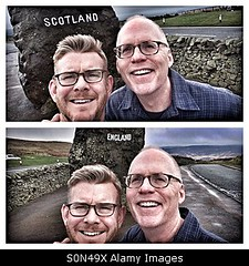 Uploaded to Stockimo (mlovette) Tags: road trip travel gay friends england holiday male men love smiling sign happy scotland couple border couples scottish tourists aged middle borders selfie selfies stockimo