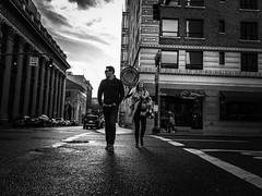 Urban Portraits (TMimages PDX) Tags: road street city autumn people urban blackandwhite monochrome buildings portland geotagged photography photo image streetphotography streetscene sidewalk photograph pedestrians pacificnorthwest avenue vignette fineartphotography iphoneography