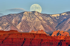 A Full Moon over Moab (Dave Toussaint (www.photographersnature.com)) Tags: travel november sky usa moon mountain snow southwest nature photoshop canon landscape se utah photo interestingness google interesting ut raw skies photographer image scenic picture clarity fullmoon explore cc adobe american canyonlandsnationalpark getty moab sw southeast redrock adjust lasalmountains 2015 denoise 60d topazlabs photographersnaturecom davetoussaint creativecloud