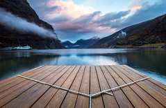 Morning Reflection in Flam (SJR2912) Tags: flam norway fjord fjords winter jetty reflection canon 6d long exposure europe travel