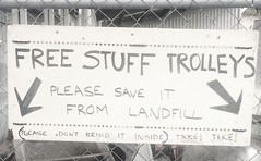 Free stuff trolleys sign - South Hobart Tip Shop
