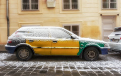 snowy Toyota (try...error) Tags: snow vienna wien old car yellow green blue winter downtown sony alpha nex 5 5n 1018 1018oss