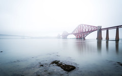 Forth Bridge during a foggy day (_gate_) Tags: forth brdige edinburgh winter scotland uk kingdom united architecture fog mist brücke eu europe scott scotts architektur langzeitbelichtung long exposure shot urban city street nikon 2485mm vr d750 river water fluss reflection