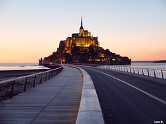Mont Saint Michel, Normandy (Len K.) Tags: stmichel normandy island fortress monastery sunset landmark sea angel outdoor road architecture