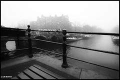 Amsterdam. (alamsterdam) Tags: amsterdam mist papeneiland water canal brouwersgracht bridge boats monochrome
