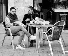 Breakfest in Valencia . (Franc Le Blanc .) Tags: panasonic lumix breakfast streetphoto valencia candid couple people sit sitting seated