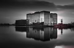 Millennium Mills (Nathan J Hammonds) Tags: royal victoria docks london millenium mills spiller monochrome nikon d750 nd 10stop blackwhite building city water long exposure