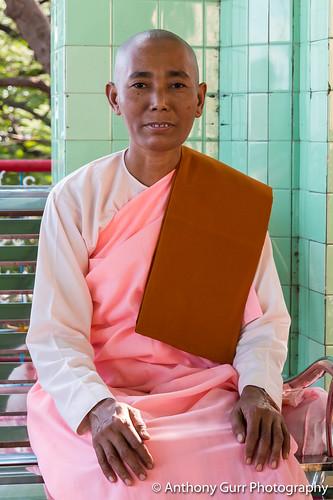 Nun at Soon Oo Pon Nya Shin Pagoda in Sagaing, Myanmar