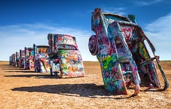 Wrong Turn (Laurence ) Tags: amarillo cadillac texas route66 cars landscape sculpture interstate40 agriculture afternoon canon eos 5d mk2 copyrightmarkldodge automobile generalmotors wreck america buried interesting odd historic history grafitti cadillacranch antfarm art