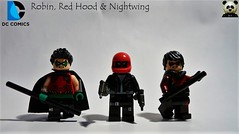 Robin, Red Hood & Nightwing (Random_Panda) Tags: lego figs fig figures figure minifigs minifig minifigures minifigure purist purists character characters comics superhero superheroes hero heroes super comic book books films film movie movies tv show shows dc figbarf figbarfs batman gotham red hood jason todd nightwing dick grayson tim drake robin