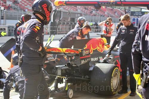 Daniel Ricciardo in his Red Bull in Formula One Winter Testing 2017 at the Circuit de Catalunya
