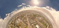 Wills memorial half planet (chris_bond) Tags: hdr panoramic bristol willsmemorialbuilding parkstreet cabottower planet bristolview