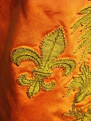 "Bourbon fleur-de-lis - Detail of embroidered dress of Saint January's Order, founded by Charles of Bourbon in 1738 - Exhibition ""Charles of Bourbon [Carlos III] and the diffusion of Antiquities: Naples, Madrid, Mexico"" up to March 22, 2017 - Naples, Archa (Carlo Raso) Tags: embroidery fleurdelis charlesofbourbon carlosiii archaeologicalmuseum naples italy"