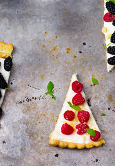 slice of a tart with fresh berries. (Zoryanchik) Tags: blue red summer food white cake fruit pie dessert healthy berry focus colorful sweet cream tasty plate fresh delicious homemade slice pastry raspberry tart creamy mulberry selective