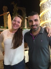 Can't imagine WHY Betsy insisted on getting photographed with this waiter, in the Turkish village of Selcuk!