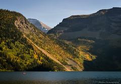Cameron Lake (Witty nickname) Tags: trees lake mountains water landscape gold golden montana border canoe alberta watertonnationalpark waterton d800 latesummer 2470mm cameronlake southernalberta nikkor2470mmf28 nikond800