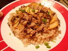 Pork, Yello Squash and Chinese Eggplant Stir-Fry (bnichnadowicz) Tags: yellow fry rice eggplant pork squash stir hellofresh