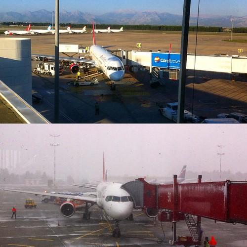 Контраст!!! Москва-Анталия-транзит. #погода #Москва #moskow #antalya #turkey #airport #турция #отдых #sun #snow