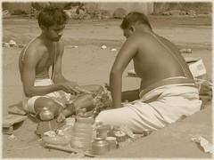 south india (gerben more) Tags: flowers shirtless india man men sepia puja southindia trichy