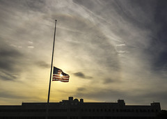 In Solidarity (sfkjr) Tags: usa paris france america sunrise solar florida flag americanflag solidarity fla halfmast halfstaff eglinairforcebase nwf eglin okaloosa solarhalo samking samuelking samuelkingjr