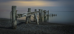 Splashed by Moonlight (Tommy1243) Tags: wood old light moon lake ontario canada cold west night point photography pier long exposure sony low ngc hamilton calm shutter serene 50 groyne nocturne 6000 ilce a6000