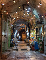 Old City Alley Lights (Warriorwriter) Tags: street light night israel alley palestine muslim jerusalem religion middleeast pedestrian christian arab jewish israeli oldcity levant