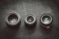 Panasonic Lumix G 25mm f/1.7, Nikon Nikkor 50mm f/1.8G AF-S, Nikon Nikkor 50mm f/1.8 AI-S Size Comparison (renatovalenzuelajr) Tags: lumix nikon olympus panasonic nikkor olympuspen cameraporn m43 mft niftyfifty 50mm18ais micro43 microfourthirds 50mm18g 25mm17 epl3