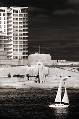 Sailing (albireo 2006) Tags: sea blackandwhite bw boat blackwhite apartments sailing malta pb nb bn flats sliema sailingboat tigne blackandwhitephotos blackwhitephotos sliemapoint