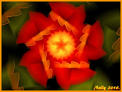*Happy flower!* (MONKEY50) Tags: green red orange flower colors abstract fractal flickraward art digital musictomyeyes hypothetical contactgroups autofocus exoticimage artdigital netartii beautifulphoto