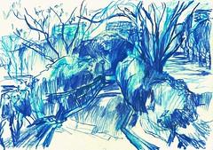 PARQUE DE LA VAGUADA - Bº DEL PILAR - MADRID (GARGABLE) Tags: sketch drawings dibujos apuntes azul parquedelavaguada madrid árboles jardin barandillas panoramica angelbeltrán gargable