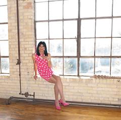 Pink Polka Dots 3 (Hannah McKnight) Tags: casketartsphotos fotofidaphotography melinamiller tgirl transgender transgirl model crossdress crossdresser stilettos