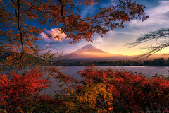 Before sunset in autumn (Jirawatfoto) Tags: fuji japan mountain kawaguchiko sunset mount lake mt autumn travel landscape nature kawaguchi sky asia landmark volcano snow beautiful fall fujisan scene red season background scenic japanese water view light tree cloud scenery yamanashi