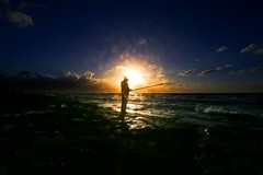 Fishing at sunset - Tel-Aviv beach (Lior. L) Tags: fishingatsunsettelavivbeach fishingatsunset telavivbeach fishing sunset telaviv beach sea seascapes travel travelinisrael fisherman silhouettes flare shadows silhouette light sun landscape landscapes dusk