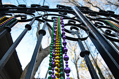 Things Are Looking Up! (BKHagar *Kim*) Tags: bkhagar mardigras beads decorations carnival season purple green gold gate metal metallic iron