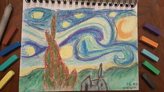 Starry Night of the Day 014/365 (Stephen Little) Tags: starrynight vincentvangogh vangogh impressionism postimpressionism potd 365project artproject drawing color colordrawing softpastel softpastels pastel pastels