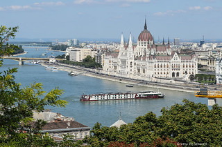 Sailing on the Danube river in Budapest