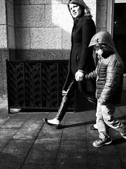 Cold walk to the car (sawestho) Tags: columbus street family lighting bnw blackandwhite kid winter people