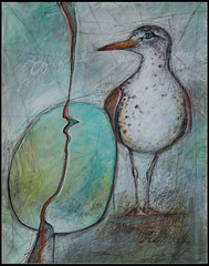 The spotter - Le guetteur (Diane Bordeleau (Aritimi)) Tags: painting eggs rock roche oeuf oiseau bird mouette gull seagull blue turquoise red drawing dessin art fineart