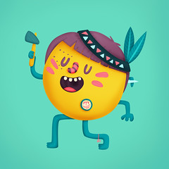 Indio Botton - Tribo Botton (FilipeAnjo) Tags: colour colors illustration marcus character indian indie filipe tribe ilustrao ilustracion botton personagem bottons filipeanjo filipemarcus
