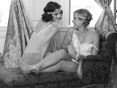 1920s Flappers in Lingerie (Jessica Lynn Parsons) Tags: 1920s girls friends blackandwhite monochrome laughing vintage model jewelry lingerie flappers