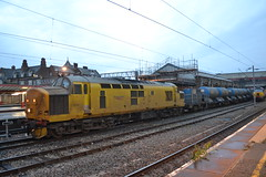 Network Rail 97303 (Will Swain) Tags: county uk travel england west station yellow wales train coast october cheshire britain south main north transport rail railway trains banana class line vehicles crewe vehicle network 37 railways 97 28th mainline 2015 97303