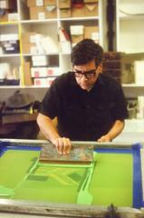 44990005 (alexdotbarber) Tags: color analog 35mm screenprint rangefinder silkscreen f28 115 kodakgold100 expiredfilm colorfilm colornegative petri7s houstonheights 45mmf28 carlospozo collaborativeprint burningbonespress