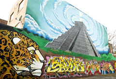 Incan Beauty (Georgie_grrl) Tags: graffitijauntwithjan graffiti streetart expression creative colourful pentaxk1000 rikenon12828mm toronto ontario mural jaguar temple pyramid incan clouds