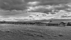 Curlys Cabin Ghost Ranch (runcolt12) Tags: curlyscabin ghostranch newmexico west taos santafe rockies monochrome bw clouds autumn cowboy oldwest desert blackandwhite nikon d800e