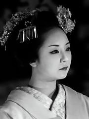 Mikako-san--Monochrome Portrait (Rekishi no Tabi) Tags: kyōtoshi kyōtofu japan jp mikako maiko apprenticegeiko apprenticegeisha kyoto monochrome sony