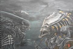 Alien vs Predator (RedRoofArt) Tags: fantasy art acryl painting panel scify fanart avp alien predator metallic