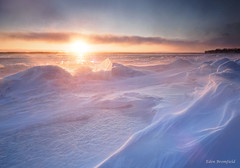 Sunset Blizzard (Eden Bromfield) Tags: blizzard snow wind ice river canada winter sunset windchill landscape nature storm sun light ambiance cold frozen his is cc