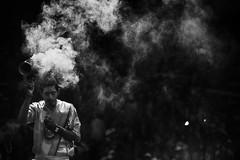 Puja (Feca Luca) Tags: street reportage blackwhite religion hindu religione ritual night notturno people india varanasi puja asia nikon smoker backlight controluce