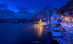 Blue Hour- Wintery Hallstatt (Austria) (FotografieTrippolt) Tags: landscape morning mountains winter water cold nature travel church blue night clouds cloudy cityscape nikon austria mountain alps holiday filter amazing alpine wintery unesco nightscape hallstatt salzkammergut hour