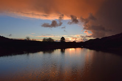 Sunset, Parys Mountain (OMG285) Tags: mynydd parys mountain anglesey pond water sunset reflection wales